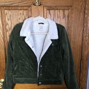 Corduroy Army Green Sherpa Jacket